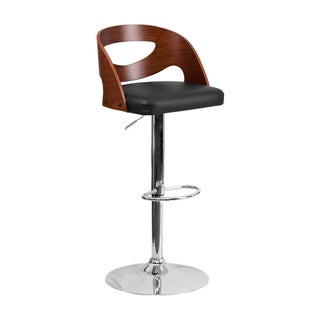 Offex Walnut Bentwood Black Vinyl Seat Cutout Back Adjustable Height Barstool