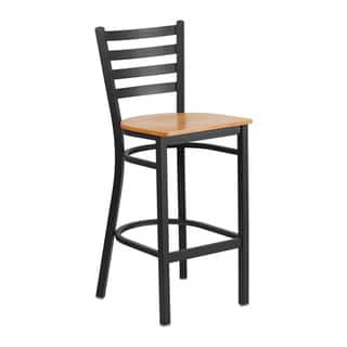 Offex Hercules Series Black Metal Ladder Back/Natural Wood Seat Restaurant Barstool|https://ak1.ostkcdn.com/images/products/16650072/P22972621.jpg?impolicy=medium
