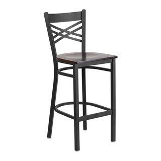 Offex HERCULES Series Black Metal Walnut Wood Seat X-back Restaurant Barstool
