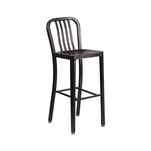 Offex 30-inch High Black & Antique Gold-tone Metal Indoor-Outdoor Barstool with Vertical Slat Back