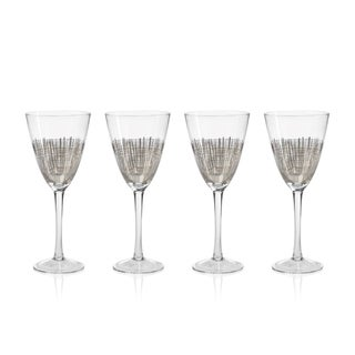 """Reza"" Wine Glass, Platinum Crosshatch Design (Set of 4)"
