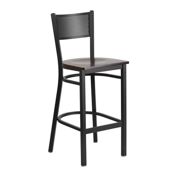 Groovy Offex Hercules Series Black Metal Grid Back Restaurant Bar Stool With Walnut Wood Seat Alphanode Cool Chair Designs And Ideas Alphanodeonline