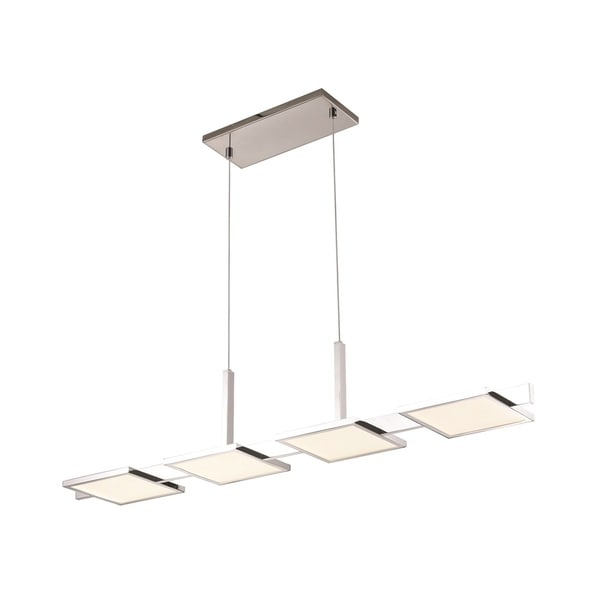 Sonneman Lighting Panels 4-light LED Polished Chrome Bar Pendant, White Shade