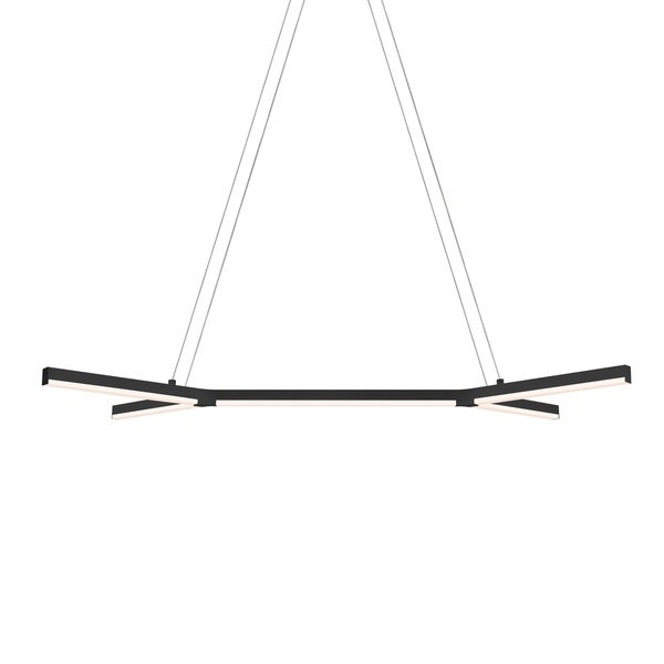 Sonneman Lighting Bi-Y LED Satin Black Pendant, Frosted Shade