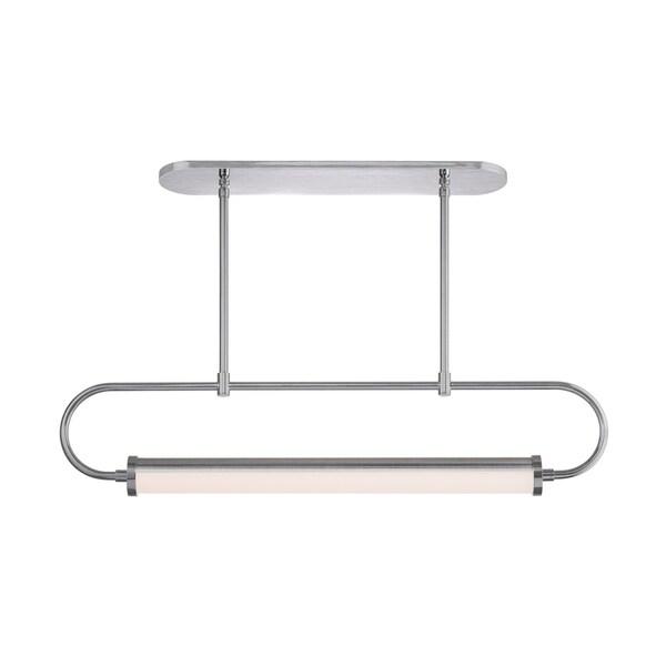 Sonneman Lighting Bauhaus Revisited Rohr LED Satin Chrome Pendant, White Shade