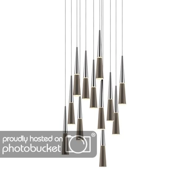 Sonneman Lighting Spire 12-light LED Polished Chrome Round Cluster Pendant, Clear Shade