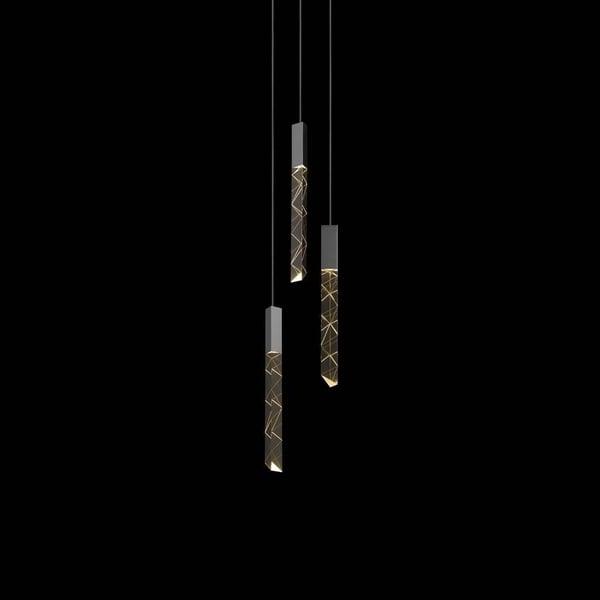Sonneman Lighting Trinity 3-light LED Polished Chrome Round Cluster Pendant, Clear Shade
