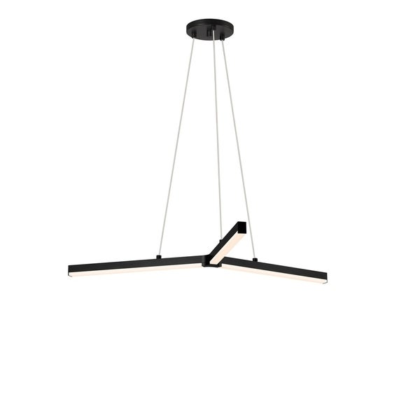 Sonneman Lighting Y LED Satin Black Pendant, Frosted Shade