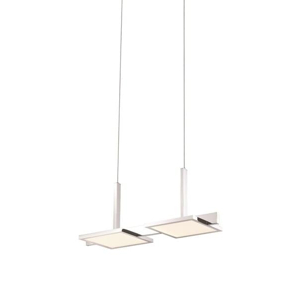 Sonneman Lighting Panels Double LED Polished Chrome Pendant, White Shade
