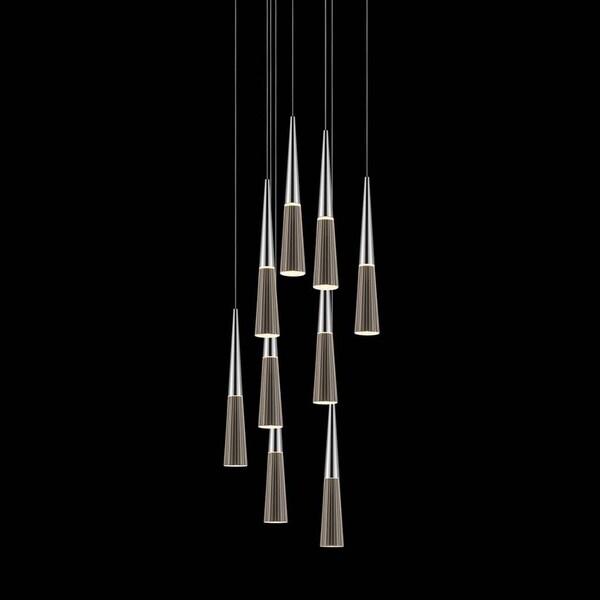Sonneman Lighting Spire 9-light LED Polished Chrome Round Cluster Pendant, Clear Shade