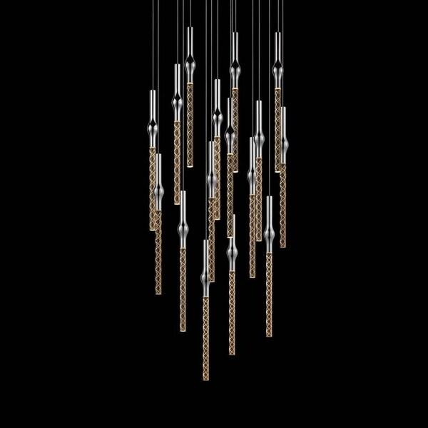 Sonneman Lighting Rain 16-light LED Polished Chrome Square Cluster Pendant, Clear Shade