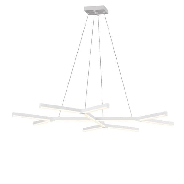 Sonneman Lighting Quad-Y LED Satin White Pendant, Frosted Shade