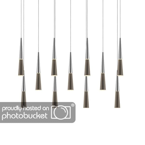 Sonneman Lighting Spire 11-light LED Polished Chrome Linear Cluster Pendant, Clear Shade
