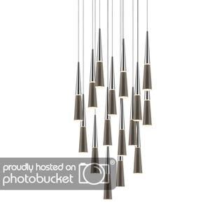 Sonneman Lighting Spire 16 Light LED Polished Chrome Square Cluster Pendant Clear Shade