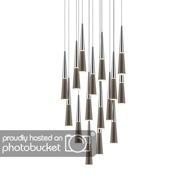 Sonneman Lighting Spire 16-light LED Polished Chrome Square Cluster Pendant, Clear Shade