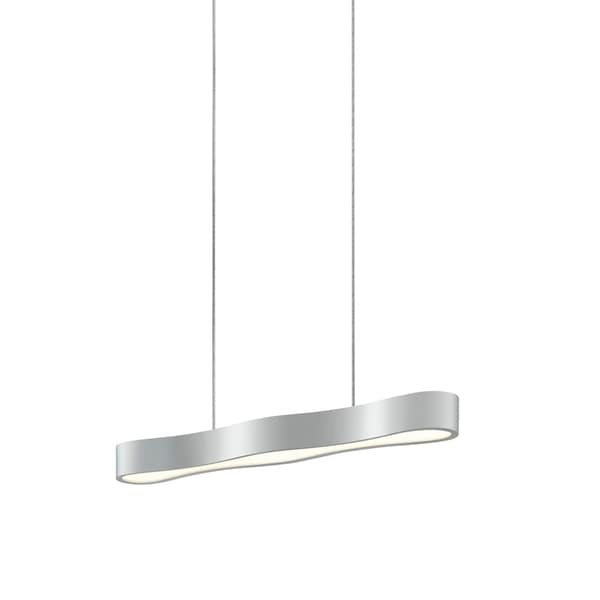 Sonneman Lighting Corso Linear 24-inch LED Bright Satin Aluminum Pendant, Optical Acrylic Diffuser