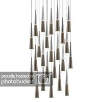 Sonneman Lighting Spire 24-light LED Polished Chrome Round Cluster Pendant, Clear Shade