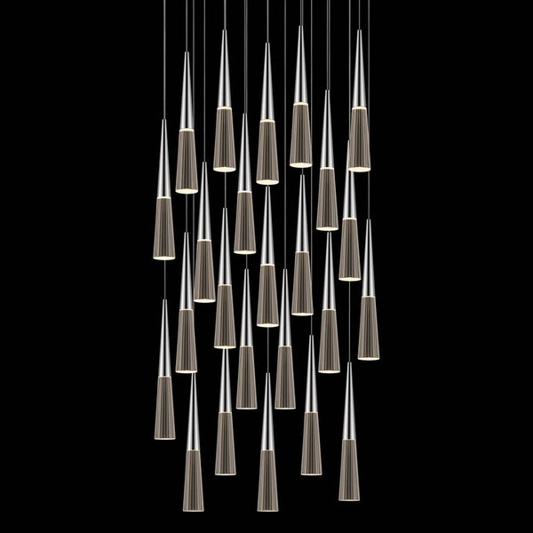 Sonneman Lighting Spire 24-light LED Polished Chrome Round Cluster Pendant, Clear Shade