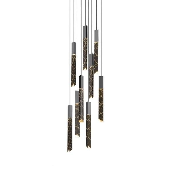 Sonneman Lighting Trinity 9-light LED Polished Chrome Round Cluster Pendant, Clear Shade