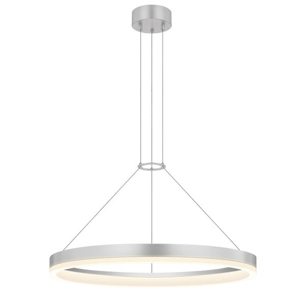 Sonneman Lighting Corona 24-inch LED Bright Satin Aluminum Ring Pendant, Frosted Shade
