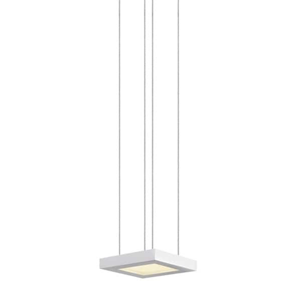 Sonneman Lighting Chromaglo Bright White LED Satin White Square Pendant, White Diffuser