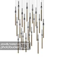 Sonneman Lighting Rain 24-light LED Polished Chrome Round Cluster Pendant, Clear Shade