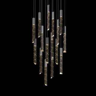 Sonneman Lighting Trinity 16-light LED Polished Chrome Square Round Pendant, Clear Shade