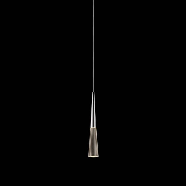 Sonneman Lighting Spire LED Polished Chrome Pendant Round Canopy, Clear Shade