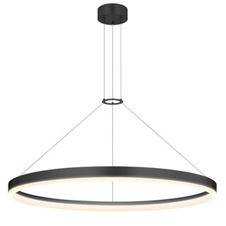 Sonneman Lighting Corona 32-inch LED Satin Black Ring Pendant, Frosted Shade