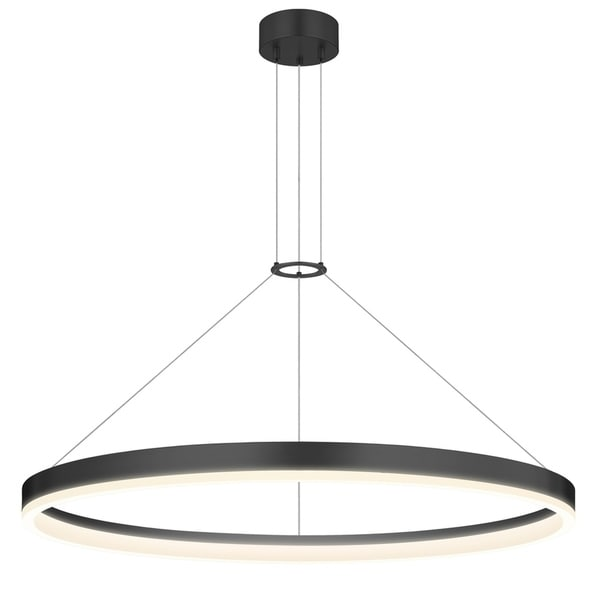 Sonneman Lighting Corona 32-inch LED Satin Black Ring Pendant, Frosted Shade