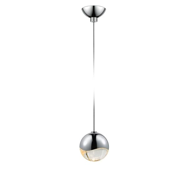 Sonneman Lighting Grapes 1-light LED Polished Chrome Micro-Dome Canopy Pendant, Clear Glass with All Small Grapes