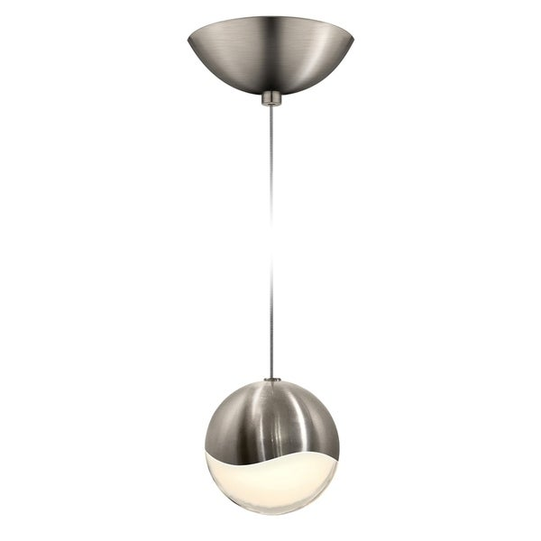 Sonneman Lighting Grapes 1-light LED Satin Nickel Dome Canopy Pendant, White Glass with All Large Grapes