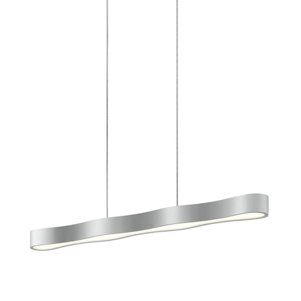 Sonneman Lighting Corso Linear 34-inch LED Bright Satin Aluminum Pendant, Optical Acrylic Diffuser