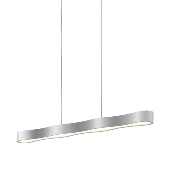 Sonneman Lighting Corso Linear 34-inch LED Bright Satin Aluminum Pendant, Optical Acrylic Diffuser - Silver