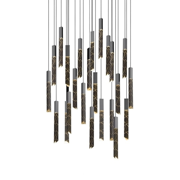Sonneman Lighting Trinity 24-light LED Polished Chrome Round Cluster Pendant, Clear Shade