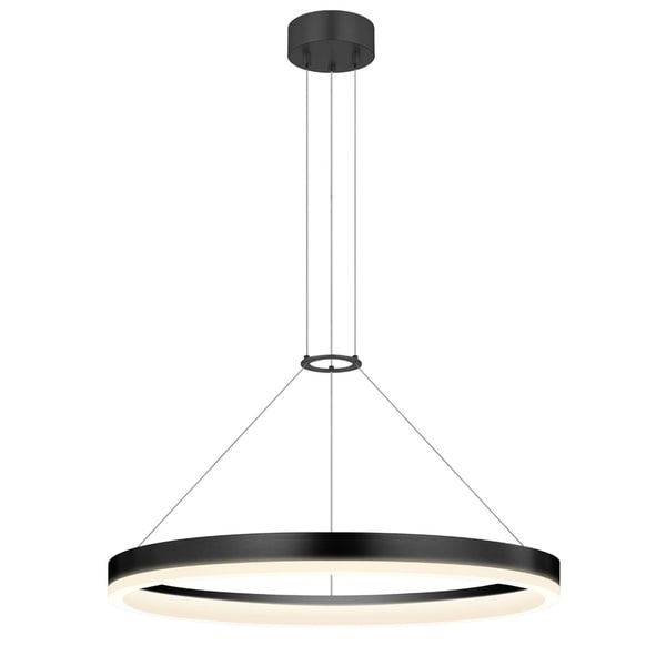 Sonneman Lighting Corona 24-inch LED Satin Black Ring Pendant, Frosted Shade