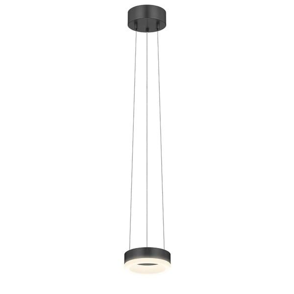 Sonneman Lighting Corona 6-inch LED Satin Black Ring Pendant, Frosted Shade