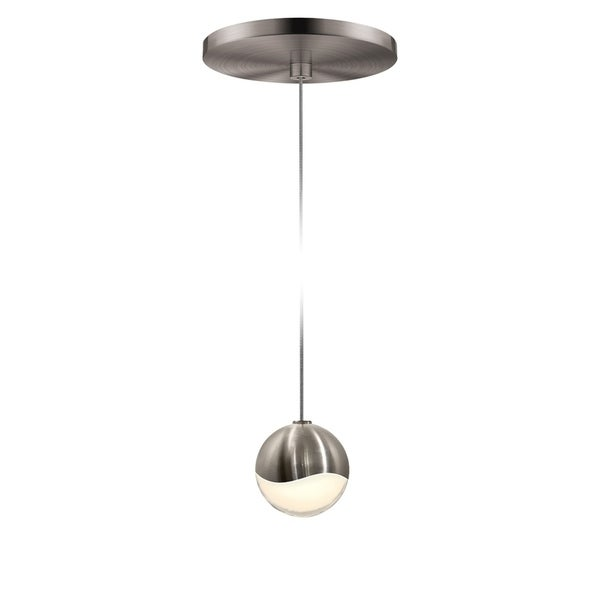 Sonneman Lighting Gs 1 Light Led Satin Nickel Round Canopy Pendant White Glass With