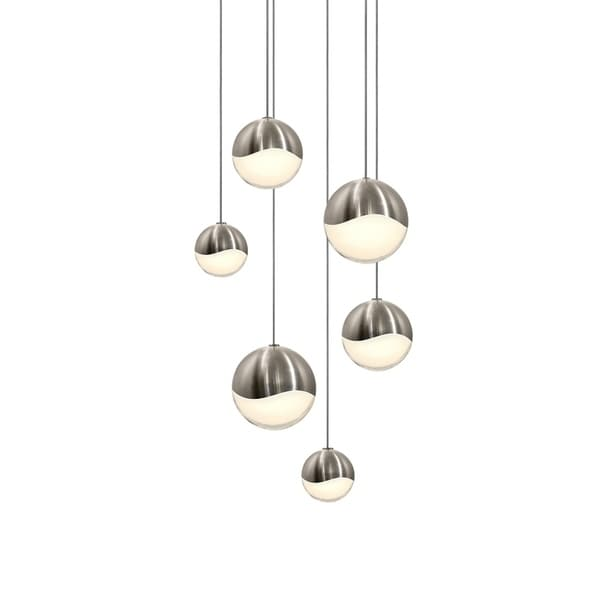 Sonneman Lighting Grapes 6-light LED Satin Nickel Round Canopy Pendant, White Glass with Assorted Size Grapes