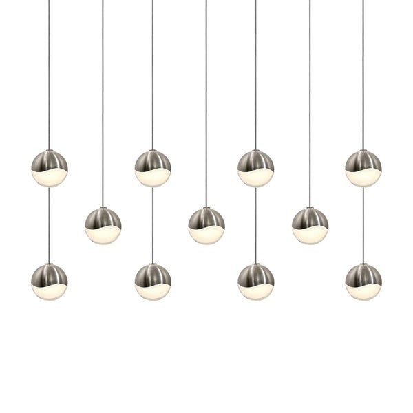 Sonneman Lighting Grapes 11-light LED Satin Nickel Rectangle Canopy Pendant, White Glass with All Small Grapes