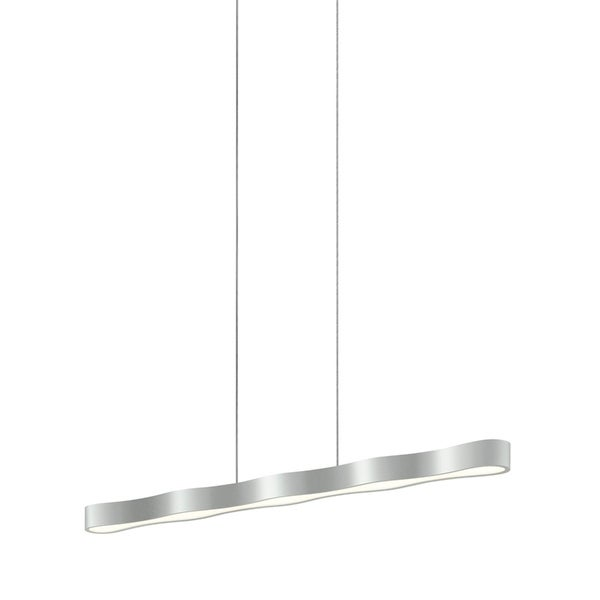 Sonneman Lighting Corso Linear 44-inch LED Bright Satin Aluminum Pendant, Optical Acrylic Diffuser - Silver