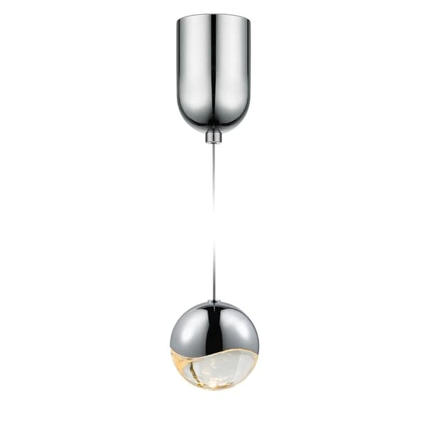 Sonneman Lighting Grapes 1-light LED Polished Chrome Mini-Dome Canopy Pendant, Clear Glass with All Medium Grapes