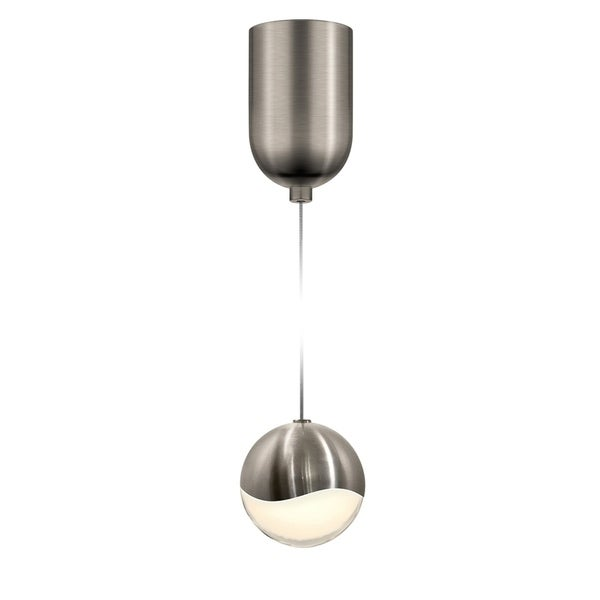 Sonneman Lighting Grapes 1-light LED Satin Nickel Finish Mini-Dome Canopy Pendant, White Glass with All Medium Grapes