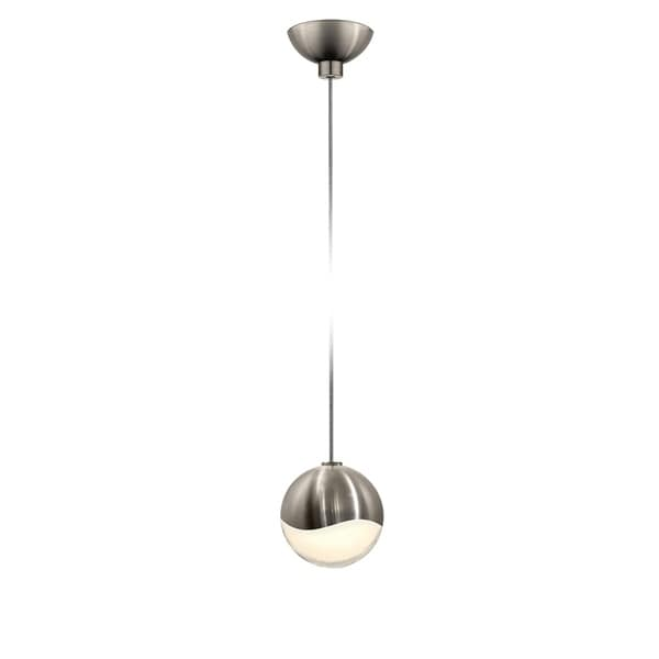 Sonneman Lighting Grapes 1-light LED Satin Nickel Micro-Dome Canopy Pendant, White Glass with All Small Grapes