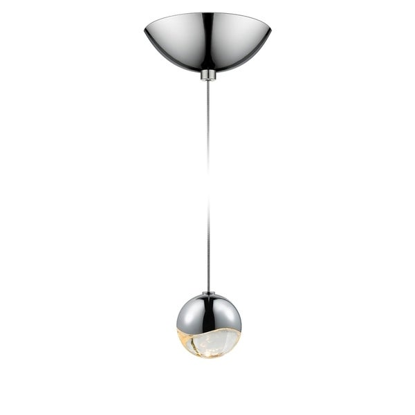 Sonneman Lighting Grapes 1-light LED Polished Chrome Dome Canopy Pendant, Clear Glass with All Small Grapes