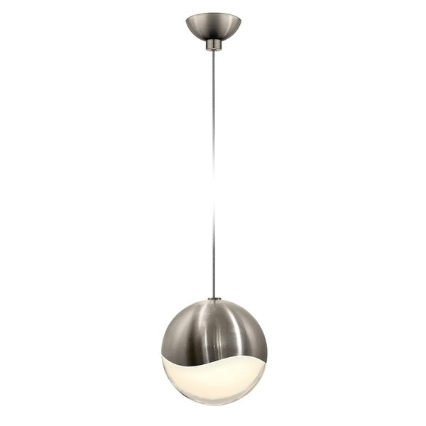 Sonneman Lighting Grapes 1-light LED Satin Nickel Micro-Dome Canopy Pendant, White Glass with All Large Grapes