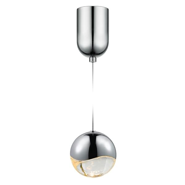 Sonneman Lighting Grapes 1-light LED Polished Chrome Mini-Dome Canopy Pendant, Clear Glass with All Large Grapes