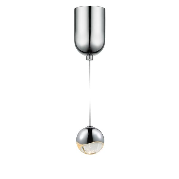 Sonneman Lighting Grapes 1-light LED Polished Chrome Mini-Dome Canopy Pendant, Clear Glass with All Small Grapes