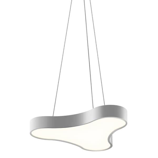Sonneman Lighting Corso Rhythm LED Bright Satin Aluminum Pendant, Optical Acrylic Diffuser - Silver