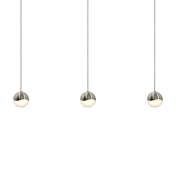Sonneman Lighting Grapes 3-light LED Satin Nickel Rectangle Canopy Pendant, White Glass with All Small Grapes